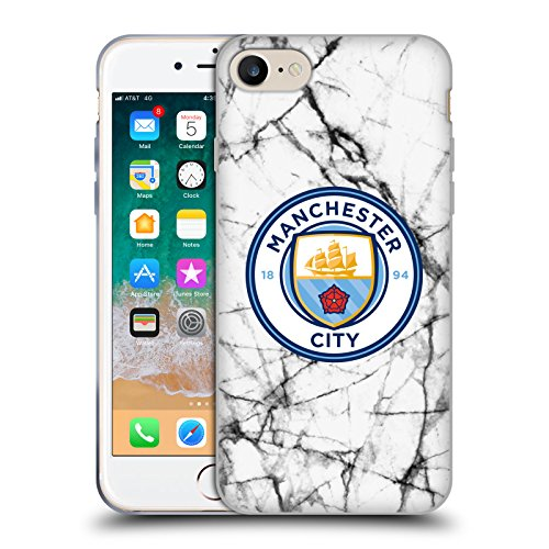 Official Manchester City Man City FC Full Colour 2017/18 Marble Badge Soft Gel Case for Apple iPhone 7 / iPhone 8 Soft Badge