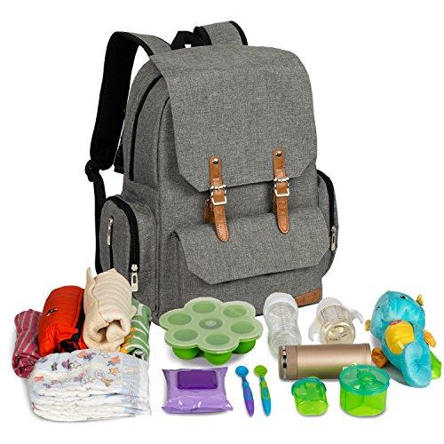 ALLCAMP Multifuntion cambiar pañales mochila grande y espacioso, con cambiador y correas para el carrito (gris)