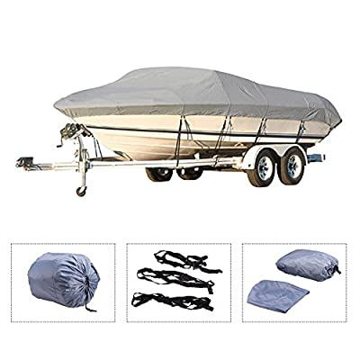 Pinty Oxford Cloth Heavy Duty Waterproof Trailerable Boat Cover fits 16' 17' 18' 19' Boats with Quick Release Buckle and Strap System