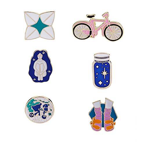 Brooch Bike Pin (ZJ ZHIJIA JEWELRY 6pcs Novelty Wishing Bottle Bicycle Series Pattern Brooch Pins Enamel Brooches Lapel Pins Badge for Women Girls Children for Clothing Bag Decor (style3))
