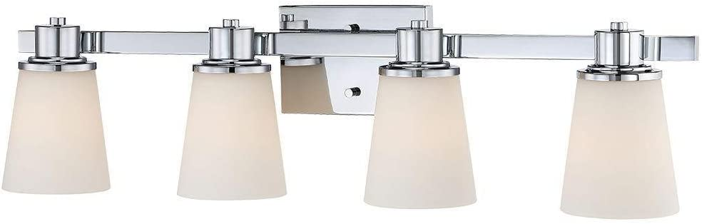 Home Decorators Collection 4 Light Chrome Bath Vanity Light With Bell Shape Etched White Glass Amazon Com