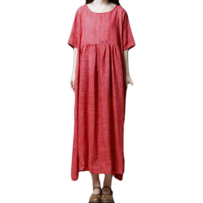 f911899549 Women Boho Dress Casual Irregular Maxi Dresses Vintage Loose Long Sleeve  Cotton Linen Dress (Red