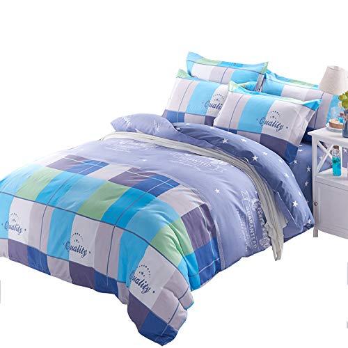 KFZ Bedding Set Duvet Cover Flat Sheet Pillowcase No Comforter 4pcs/Set CQ Twin Full Queen King Star Lattice Colored Squares Design Adult Kids (Color Stri