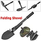 iMeshbean Strong and Light Weight Military Folding Camping Survival Shovel with Dibble Pick ,Compass & Carrying Pouch ,Comfortable & Ergonomic Design USA