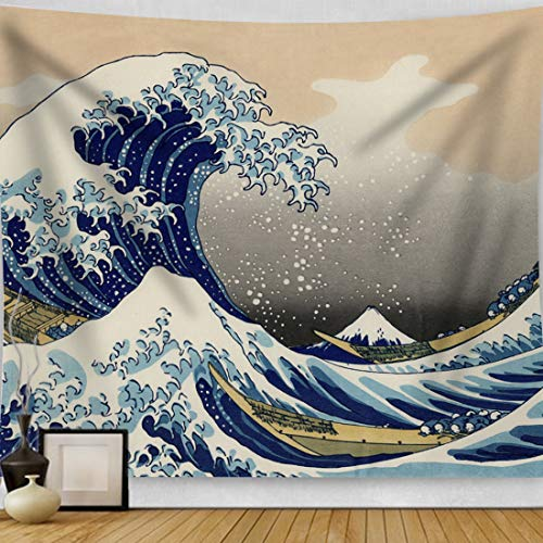 """HAOCOO Kanagawa Tapestry, Ocean 3D Painting Wall Art Great Wave Wall Hanging Tapestry Home Decor for Bedroom Living Room Dorm Apartment 51""""x60"""""""