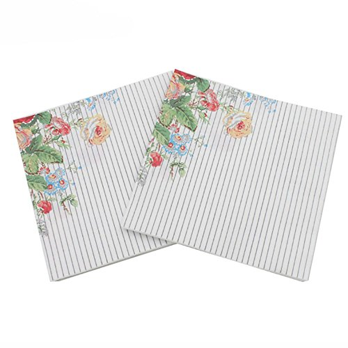 Smartcoco 20pcs Flower and Grass Paper Napkins Festive and Party Color Printing Tissue Table Decoration 13