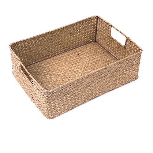 Rectangular Wicker Basket,Straw Storage Basket Rattan Wicker Toys Sundries Storage Baskets-Yellow 36x25.5x11.5cm(14x10x5inch) ()