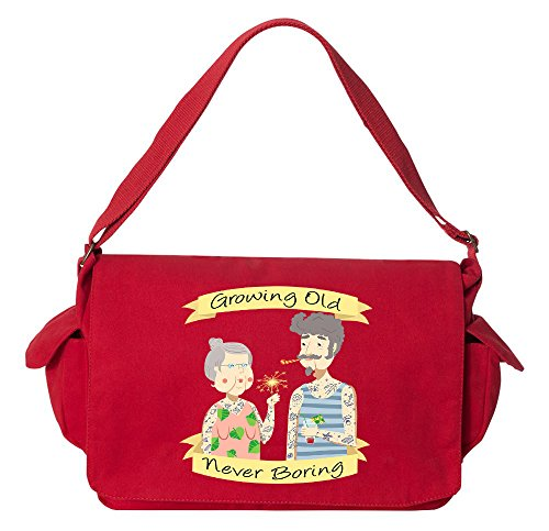 Tenacitee Growing Old Never Boring Couple Red Brushed Canvas Messenger Bag by Tenacitee
