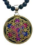 Metatron's Cube in Flower of Life Sacred Geometry Necklace (tourmaline & Vishnu beads)