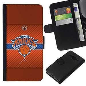 Nueva York Knick Baloncesto - la tarjeta de Crédito Slots PU Funda de cuero Monedero caso cubierta de piel Para Samsung Galaxy Core Prime