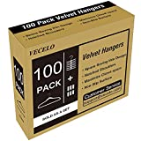 Premium Velvet Suit Hangers Heavy Duty - Non Slip & Space-Saving Clothes Hangers with 6 Finger Clips and Tie Rack for Men and Women (100 Pack)