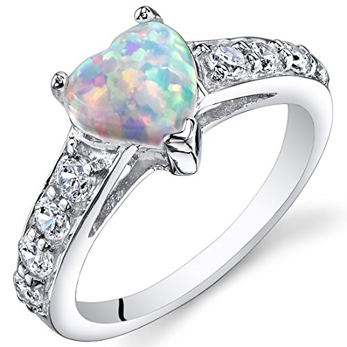 Created Opal Ring Sterling Silver Heart Shape 1.00 Carats Size 9