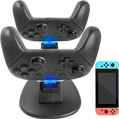 Pro Controller Charger for Nintendo Switch - YOOWA Dual Controller Charger Charging Dock Stand Station for Nintendo Switch Pro Controllers with LED - Boot Led Indicator