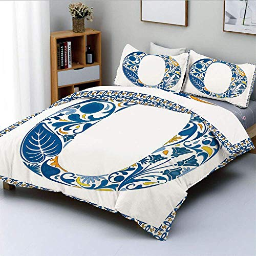 SINOVAL Blue Capital Letter in Framework Portuguese Tile Art Azulejo Floral Design College Dorm Room Decor Decorative Custom Design 3 PC Duvet Cover Set Twin/Twin Extra - Decor Blue Tile Capital