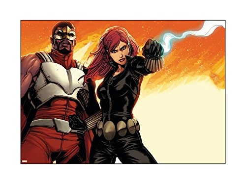 Avengers Assemble Panel Featuring Falcon, Black Widow Poster 12 x 16in