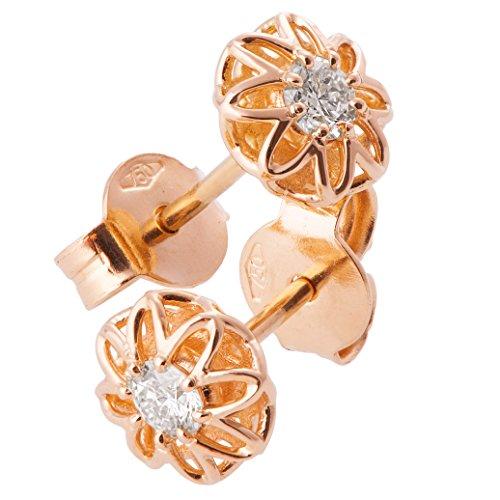 18K Solid Rose Gold Unique Celtic Earrings For Women Set With Forever Brilliant Moissanite Stones by Doron Merav