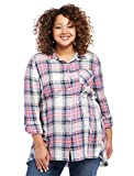 Motherhood Plaid High-Low Hem Maternity Tunic
