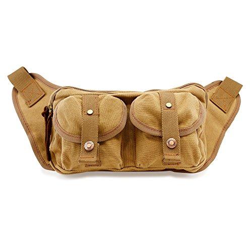 GEARONIC TM Men's Military Canvas Waist Leg Fanny Vintage Travel Waist Hip Pack Messenger Hiking Bag Wallet - Khaki