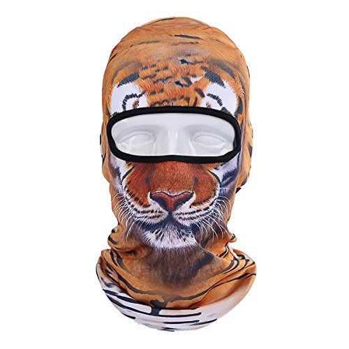 (Runtlly Unisex Animal Face 3D Print Ski Balaclava Full Face Cycling Mask Ski)