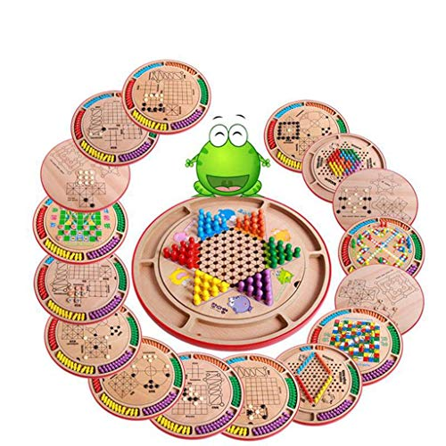 (JINLIU 10 in 1 Chinese Checkers Wooden Pegs Board Game Set Pieces Exquisite Packaging 14.2 Inch, for Family Fun Parties 10 in 1 Board Game Set)