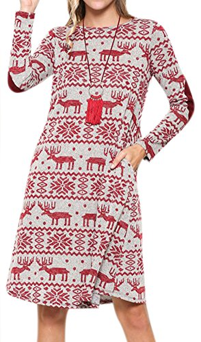 Women's Christmas Snowflakes Pocket Patchwork Dress