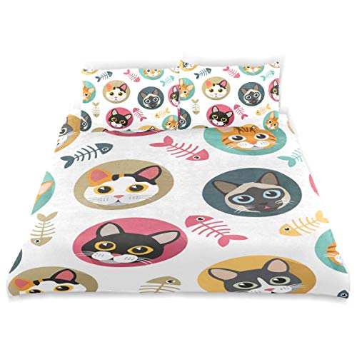 - VANKINE Cute Duvet Cover Set Cute Cats Fishbone Pattern s Design Bedding Decoration Twin Size 3 PC Sets 1 Duvets Covers with 2 Pillowcase Microfiber Bedding Set Bedroom Decor Accessories