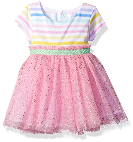 Youngland Baby Girls' Striped Knit to Mesh Fashion Dress, Pink/Multi, 24M