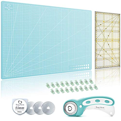 Rotary Sewing Cutting Set (5 Piece) incl. 45mm Rotary Cutter, 3 Replacement Rolling Blades, Cutting Mat, Acrylic Ruler and Craft Clips - for Crafting and Quilting, Crochet and Knitting