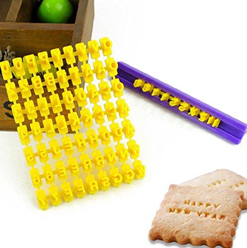 SwirlColor Set 72pcs Alphabet Anzahl & Brief Cookie-Keks-Stempel Embosser Cutter Fondant, Make DIY Werkzeug jede Nachricht Brief
