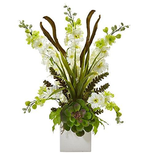 Nearly Natural 1446-WH Delphinium and Succulent Arrangement
