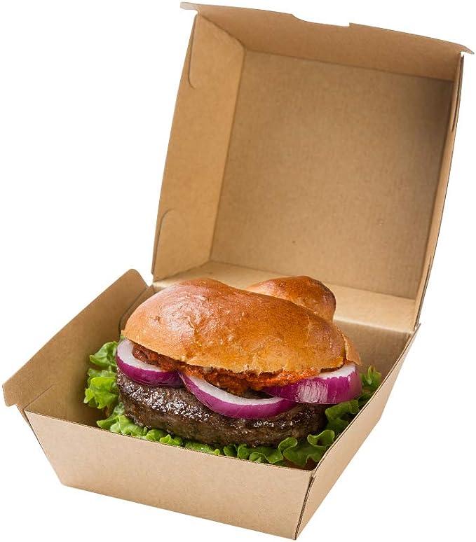 BIOZOYG Take Away Burger Box 50 Piezas I robustas Cajas de Hamburguesas con Tapa de bisagra Alta I Embalaje para To Go Burger de cartón Kraft marrón 13 x 14 x 8