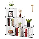 HOMFA Cube Storage Organizer, 6 Cubes DIY Plastic Modular Closet Cabinet Storage Organizer, Living Room Office Bookcases Shelves for Books, Cloths, Toys, Shoes, Arts, Matte White