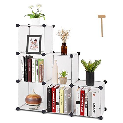 HOMFA Cube Storage Organizer, 6 Cubes DIY Plastic Modular Closet Cabinet Storage Organizer, Living Room Office Bookcases Shelves for Books, Cloths, Toys, Shoes, Arts, Matte White by Homfa