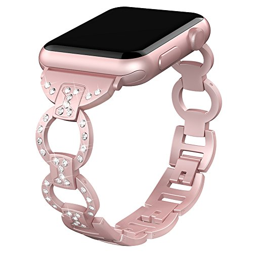 Valband Replacement for Apple Watch Band 38mm 42mm,Metal Bling Wristband Replacement Strap Bracelet for Apple Watch Series 3 Series 2 Series 1 Nike+ Sport Edition (1.Rose Pink-38mm)