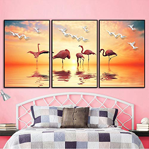 DG.Cheng 3 pcs Contemporary Wall Art Flamingo Oil Painting