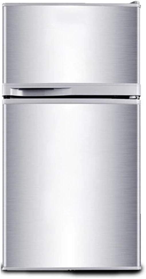 エッグラック付きの冷凍庫ミニ冷蔵庫、寮/アパート/オフィス用の取り外し可能なパーティションのある二重ドアコンパクト冷蔵庫 - シルバー