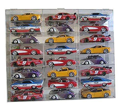 Clear Acrylic Display Case Wall Cabinet for 1:24 Scale Diecast Nascar Toy Cars/Wheels, 24 Compartments, Hot-AHW24