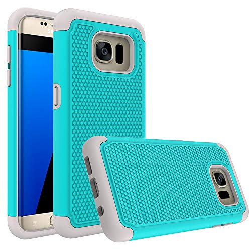 Galaxy S7 Edge Case Bestselling Shop Bling Crystal Duty Dual Layer Armored Hybrid Case Cover for Samsung Galaxy S7 Edge G935 All Carriers (Turquoise/Gyay)