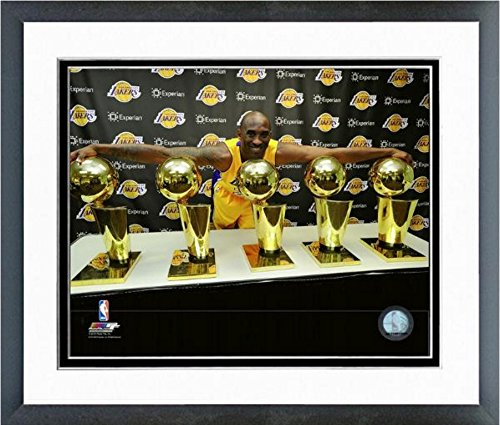 Kobe Bryant Los Angeles Lakers 5 NBA Championship Trophies Photo (Size: 12.5