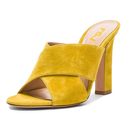 FSJ Women Chic Open Toe Platform Chunky High Heel Mules Sandals Crossover Strap Slide Shoes Size 9 Yellow-12 cm