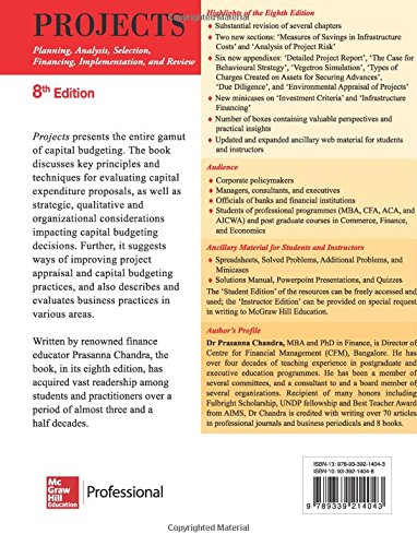 Projects 8e planning analysis selection financing projects 8e planning analysis selection financing implementation and review dr prasanna chandra 9789339214043 amazon books fandeluxe Gallery