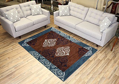 (Studio Collection Damask Abstract Design Area Rug Rugs (Damask Teal Blue Brown, 5x7))