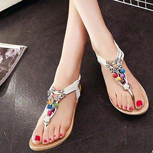 Chaussures Sandales Blanche De De Plage De Sandales sole Douces Paire Clip Bohême Matériau 1 Été Orteil Clode® Composite Sandales Perles En IOfaw6qq