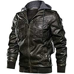 ONLT TOP Mens Faux Leather Jacket with Hood Long Sleeve Premium Stand Collar Zip Up Racer Hoodie Leather Jacket