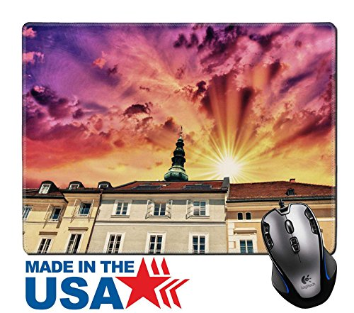 "MSD Natural Rubber Mouse Pad/Mat with Stitched Edges 9.8"" x 7.9"" Austrian buildings Ancient architecture and classic homes Image ID - Main Street Vienna"