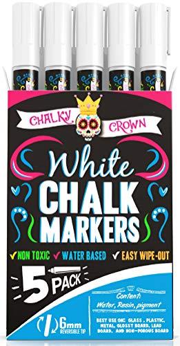 Liquid Chalk Marker Pen - White Dry Erase Marker - Chalk Markers for Chalkboard Signs, Windows, Blackboard, Glass - 6mm Reversible Tip (5 Pack) - 24 Chalkboard Labels Included (Chalk Liquid White)