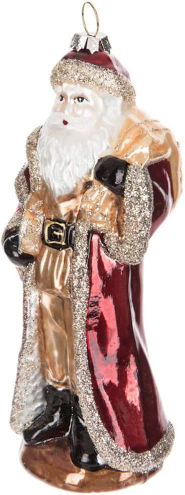 Robert Stanley Gold Santa with Cloak Blown Glass Ornament, Jolly Old Saint Nicholas, Christmas Around The World (Red)