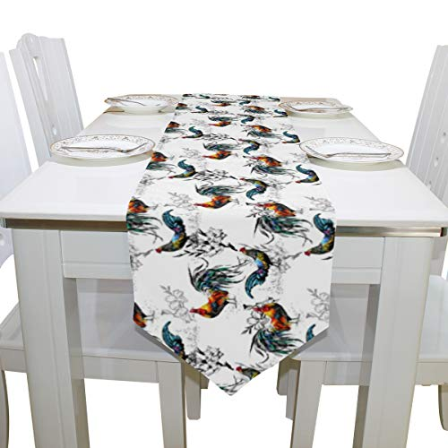 ASVIP Table Runners Watercolor Farm Roosters Flowers Double-Sided Polyester Long Table Runner 13 x 90 Inches Multicolor Table Cloth for Office Kitchen Dining Wedding Party Home Decor (Runner Rooster)