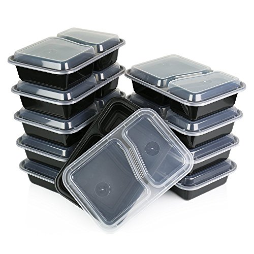Home Amenity 10-Pack 2 Compartment Food Containers w/Lids - Microwave, Dishwasher and Freezer Safe. Stackable, Reusable, BPA Free Plastic Lunch Box. Airtight Meal Prep Storage, Portion Control (23oz)