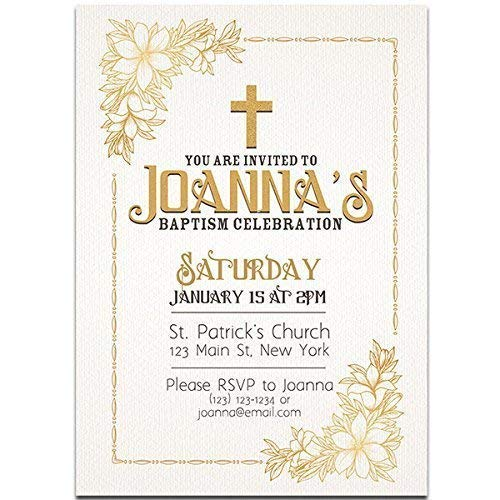 Golden With Textured Background Baptism Invitations